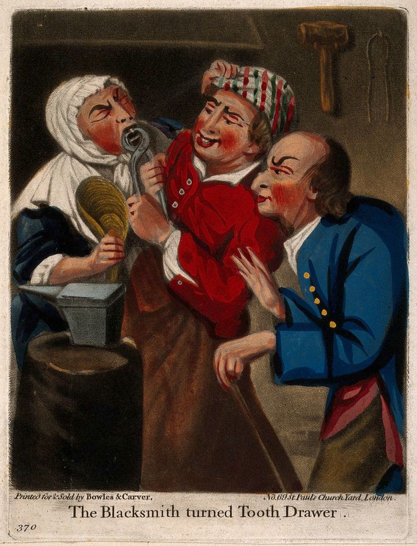 A_rustic_blacksmith_turned_tooth-drawer_extracting_a_tooth_f_Wellcome_V0012027