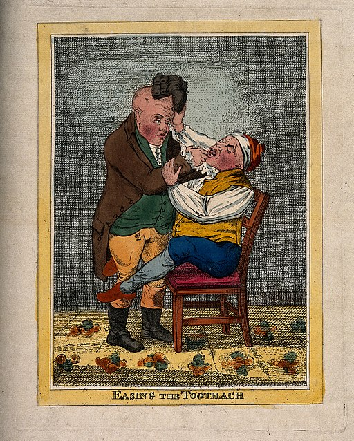 A_tooth-drawer_extracting_a_tooth_from_a_patient_who_is_in_s_Wellcome_V0012061