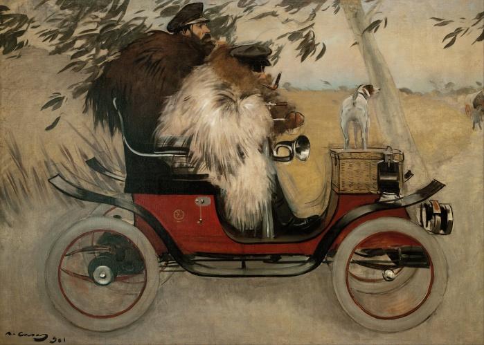 Ramon_Casas_-_Ramon_Casas_and_Pere_Romeu_in_an_Automobile_-_Google_Art_Project